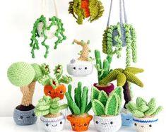 Crochet plants pattern | Etsy FR Crochet Amigurumi, Dog Crochet, Kawaii Crochet, Amigurumi Patterns, Easy Crochet, Balloon Animals, Crochet Patterns For Beginners, Learn To Crochet, Crochet Things
