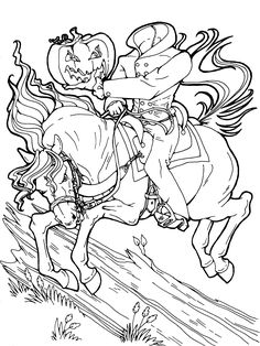 Headless Horseman Halloween Coloring Page Get More Downloadable Pages For FREE