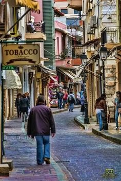 The Back Streets of Rethymnon Crete Greece in day