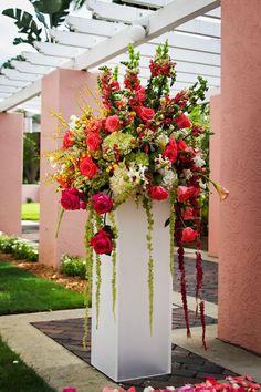 Ideas Flowers Arrangements Wedding Entrance For 2019 Large Flower Arrangements, Wedding Flower Arrangements, Floral Centerpieces, Altar Flowers, Church Flowers, Floral Wedding, Wedding Flowers, Blue Wedding, Jeff Leatham