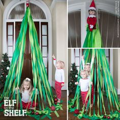 O Christmas Tree! This elf decided to help her family by putting up this playful decoration! | Elf on the Shelf Ideas