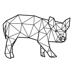 Geometric Drawing, Abstract Shapes, Geometric Art, Geometric Animal, Origami Pig, Stylo 3d, Pig Drawing, Homemade Stickers, Polygon Art