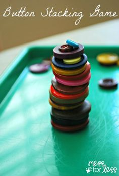 Button Stacking Game - Find out how simple this game is to play and what you need to play it anywhere. My kids loved it!