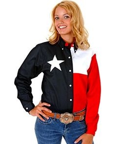 Roper Womens Texas Flag ButtonDown Shirt Navy Large >>> Check out this great product.