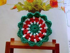 Happy Hippie Crochet Flower Applique 25 inches Red Green by Mamta