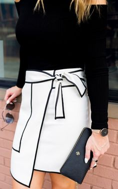 If you're going to do black and white, you may as well keep it saucy and fun! Urban Vogue Flap Skirt in White featured by Whit's Whims Blog