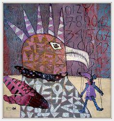 - Photo de New Art 2015 - Elke Trittel Art Pop Art, Art Fantaisiste, Art Carte, Flow Painting, Creation Art, Madhubani Art, Bird Artwork, Truck Art, Collage Vintage