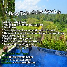 5 DAYS TWIN CITIES SPECIALS (With Round trip Airfare) Minimum of 2 persons  For more inquiries please call: Landline: (+63 2)282-6848 Mobile: (+63) 918-238-9506 or Email us: info@travelph.com #Brunei #TravelPH #TravelWithNoWorries Round Trip, Twin Cities, Brunei, First Night, Twins, City, Travel, Viajes, Cities