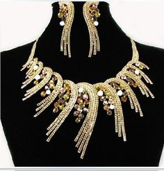 Crystal Wedding Jewelry Set Luxurious Necklace Earrings