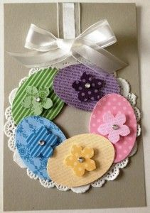 handmade Easter card ... kraft card ... big wreath ... doily with the center cut out and large oval eggs with flowers in a circle ... luv it! ...Stampin'Up!