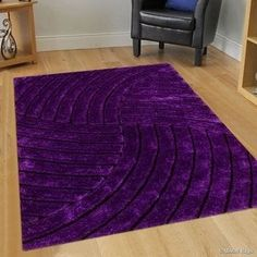 Shop for AllStar Rugs Purple Shaggy Area Rug with Design with Lines. Contemporary Formal Hand Tufted x Get free delivery at Overstock - Your Online Home Decor Store! Get in rewards with Club O! Purple Home Decor, Purple Home Offices, Purple Office, Purple Furniture, Furniture Decor, Purple Bedrooms, Purple Bedding, Cloud Cushion, Color Lila