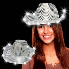 Silver LED and Light-Up Sequin Cowboy Hat