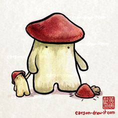 Mushroom People — In colour! I'll be making my way through my old illustrations now and adding colour to all of them! I'm still taking suggestions for new Black and White ones, but they will take a back seat to the colour. Kawaii Doodles, Kawaii Chibi, Soul Saga, Dark Souls Art, Dark Blood, Hippie Painting, Mushroom Art, 1 Tattoo, Spirited Art