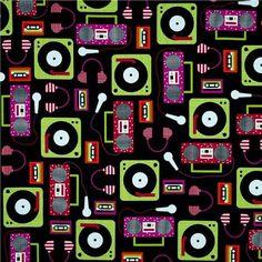 Picture of Beatbox Retro Headphones Boom Box Record Players Black Cotton Fabric