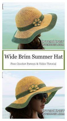 Wide Brim Summer Hat Free Crochet Pattern and Video Tutorial #freecrochetpatterns