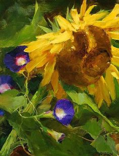 smARTing off: Garden Paintings: Kathy Anderson Art Floral, Floral Drawing, Garden Painting, Love Painting, Watercolor Flowers, Watercolor Art, Sunflower Art, Sunflower Paintings, Cactus