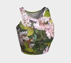 """Athletic+Crop+Top+""""Tranquil+Pink+Blooms""""+by+Betty+Sanderson"""