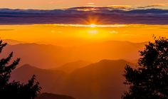 Colorful sunset over The Smoky Mountains National Park
