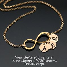 Gold INFINITY Initial Necklace, Personalized Infinity Necklace, Family Necklace, Monogrammed Disc, 1 up to 8 initials. Infinity Jewelry, Infinity Charm, Infinity Necklace, Family Necklace, Initial Necklace Gold, Personalized Charms, Birthstone Charms, Initial Charm, Necklace Lengths