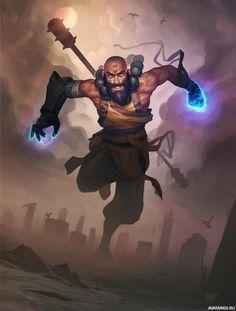 Монах из Diablo 3 бежит по кладбищу — Скачать картинки