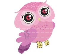pink owl clip art digital clipart  Cute Owl Digital Clip by Werata, $1.99