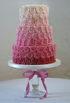 Pink Ombre Graduating Colour Rosettes Wedding Cake