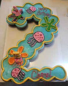 SpongeBob square pants cupcake cake