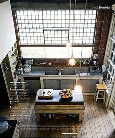 renovated warehouse living space #industrial #kitchen #windows