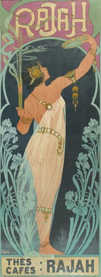 Poster design by Henri Privat-Livemont advertising 'Rajah' Teas and Coffees, ca. 1900. Description: Henri Privat-Livemont's Rajah is extremely scarce—only one reference to the poster has been found,...
