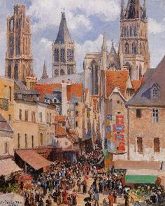 The Old Market in Rouen 1898, Camille Pissarro