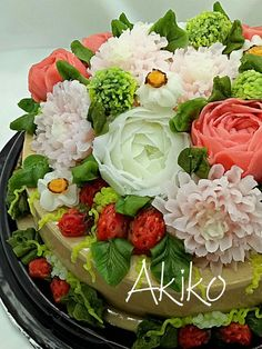 From jelly~ Jelly Cream Flower Pudding Jelly Cream, Jelly Jelly, Jelly Flower, Flower Food, Agar Agar Jelly, 3d Jelly Cake, Jello Cake, Vegetable Carving, Jello Recipes