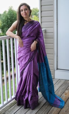 Staple Tussar Silk Saree in Violet and Blue Tussar Silk Saree, Mulberry Silk, Sari, Photoshoot, Blue, Collection, Color, Products, Fashion