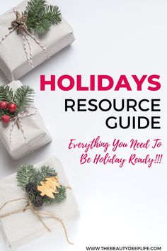 Need help getting holiday-ready this year?? Check out our resource guide containing tips, recipes, gift ideas, movies to watch, deals, printables, and planners all in one spot!! #holidays #christmas #holidayguide #christmasguide #holidayresources