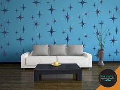 Retro Starburst Vinyl Wall Decals Set of 18 SHA004 by PMVinyls