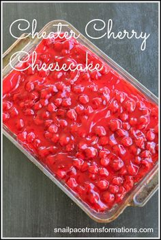 no bake Cheater Cherry Cheesecake takes less than 15 minutes to throw together and is oh so yummy!