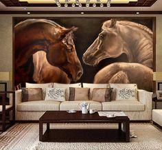 fondos de escritorio de encargo del caballo 3D, caballo pintura al óleo para la sala de estar fondo del dormitorio TV de la pared de seda impermeable del papel pintado del paño