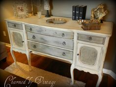 Antique Hand Painted Buffet Sideboard Reserved by CharmedByVintage