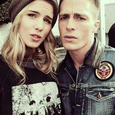 Emily Bett Rickards(Felicity) & Colton Haynes(Roy),he does not look happy to be in this picture.xD - The wolf that kills Emily Rickards, Arrow Cast, Arrow Tv, Teen Wolf, Roy Harper, Cw Dc, The Cw Shows, Felicity Smoak, Arrow Felicity