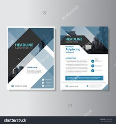 Blue and black Abstract corporate Leaflet Brochure Flyer template design, book cover layout design Vector