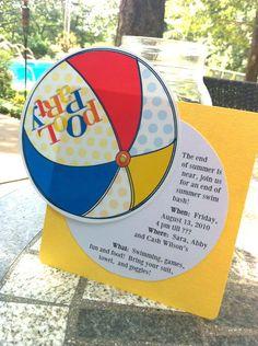 A cute free printable pool party invitation by Janna Wilson via LivingLocuto.com