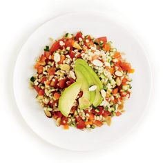 Sort of like cold Gazpacho soup our Barley Gazpacho Salad Recipe has a lot going on! Barley, plum tomatoes, peppers and cucumbers topped off with almonds and healthy avocados.