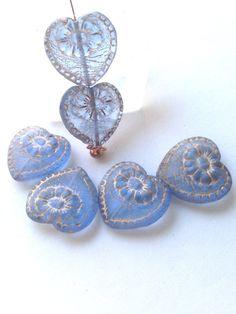 Czech Glass Victorian Heart Bead  Sapphire by LyrisBeadBoutique