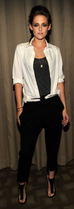 Love what she did with the white shirt on/in the black trousers.