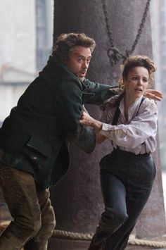 """Holmes and Adler in peril: Robert Downey Jr. and Rachel McAdams in """"Sherlock Holmes"""" Sherlock Holmes Robert Downey, Sherlock And Irene, Sherlock 3, Robert Downey Jr, Rachel Mcadams Sherlock Holmes, Sherlock Cumberbatch, Love Movie, Movie Tv, Sherlock Holmes Costume"""
