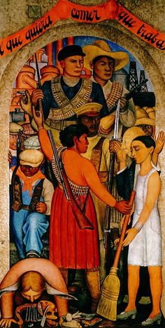 Detail of a mural by Diego Rivera