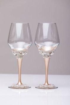wedding wine glasses ivory champagne set of 2 glasses