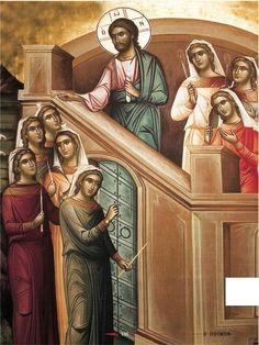 Parable of ten maidens Spiritual Paintings, Religious Paintings, Byzantine Icons, Byzantine Art, Religious Icons, Religious Art, Miracles Of Jesus, Roman Church, Spirited Art