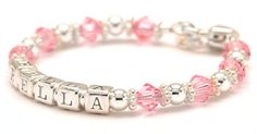 """Birthstones Name Bracelet for child mixes birthstones with sterling silver and bali silver spacers. Child's name spelled out in sterling silver letter beads makes this the perfect personalized keepsake baby bracelet.  Bracelet comes with a heart shape lobster clasp, 1"""" of extension chain and a charm of your choice.  This style is also available in adult sizes and Mommy & Me Bracelet sets. We offer the option to upgrade birthstones to authentic gemstones [ LilyBrookeJewelry.com ]"""