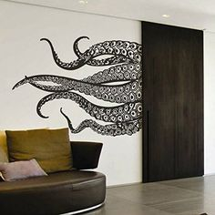 MairGwall Kraken Octopus Decal Fashion Tentacles Wall Decal Ocean Animal Wall Sticker MediumBlack * Check out this great product. Nursery Wall Stickers, Wall Decals, Animal Bedroom, Vinyl Wall Art, Kraken, Tentacle, Deep Sea, Bedroom Wall