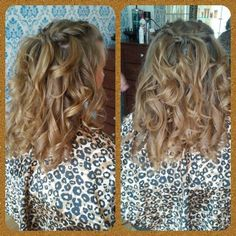 Waterfall braid and curls for Prom done by Bobbi-Jo!  SunDay's Salon and Spa. Laconia, NH